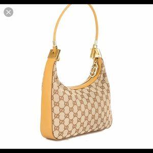GUCCI Tan Leather GG Monogram Canvas Shoulder Bag